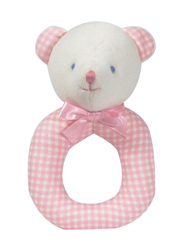 Pink Check Bear Baby Ring Rattle by Kate Finn Australia