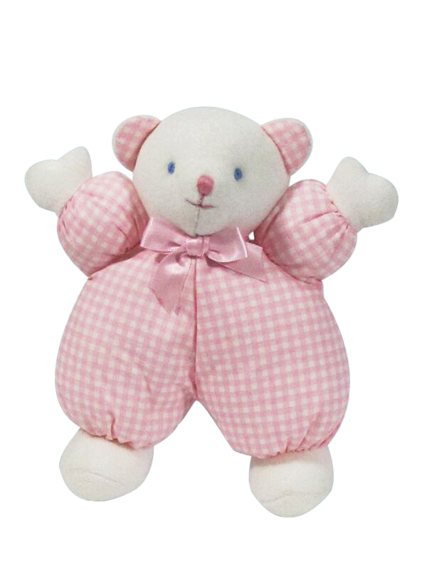 Pink Check Puff Bear Baby Toy