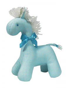 Aqua Check Horse Baby Toy by Kate Finn Australia