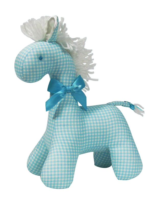 Aqua Check Horse Baby Toy by Kate Finn Australia