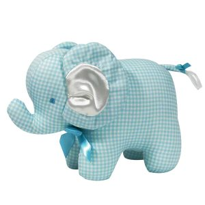 Aqua Check Elephant Baby Toy by Kate Finn Australia