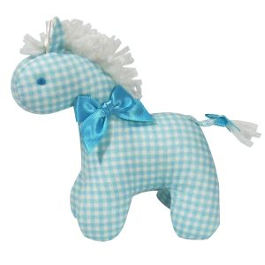 Aqua Check Mini Horse Baby Toy by Kate Finn Australia