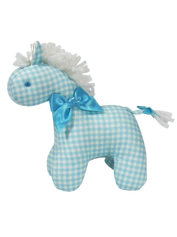 Aqua Check Mini Horse Baby Toy by Kate Finn Australia