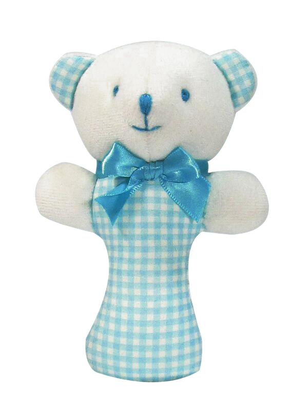 Aqua Check Bear Baby Rattle by Kate Finn Australia