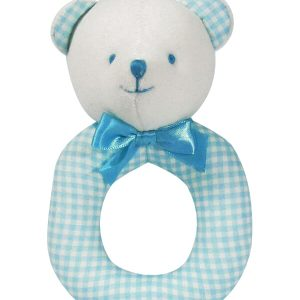 Aqua Check Bear Baby Ring Rattle