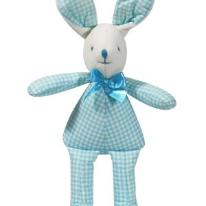 Aqua Check Bunny Squeaker Baby Toy by Kate Finn Australia