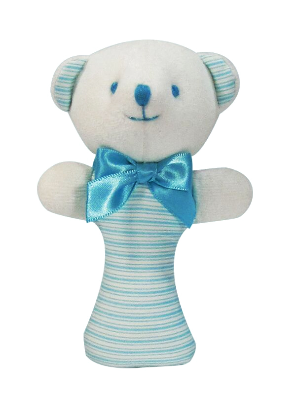 Aqua Ticking Bear Baby Rattle by Kate Finn Australia