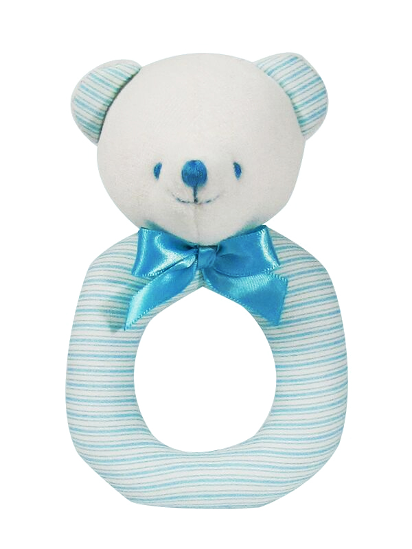 Aqua Ticking Bear Baby Ring Rattle by Kate Finn Australia