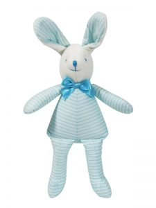 Aqua Ticking Bunny Squeaker Baby Toy by Kate Finn Australia