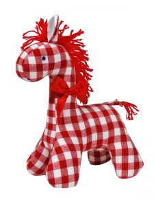 Red Check Horse Baby Toy by Kate Finn Australia