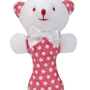 Red Sun Tiles Bear Baby Rattle by Kate Finn Australia