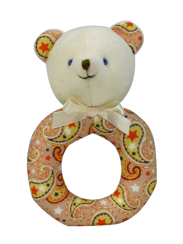 Tan Paisley Bear Baby Ring Rattle by Kate Finn
