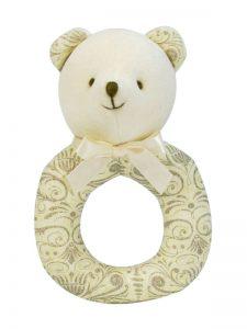 Ecru Script Bear Baby Ring Rattle by Kate Finn Australia