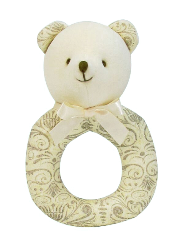 Ecru Script Bear Baby Ring Rattle by Kate Finn Australia