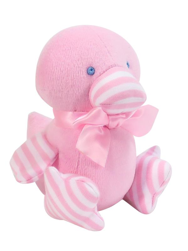Pink Velvet Duckling Baby Toy by Kate Finn Australia