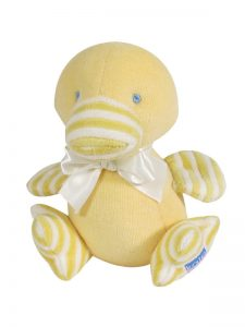 Yellow Velvet Duckling Baby Toy by Kate Finn Australia