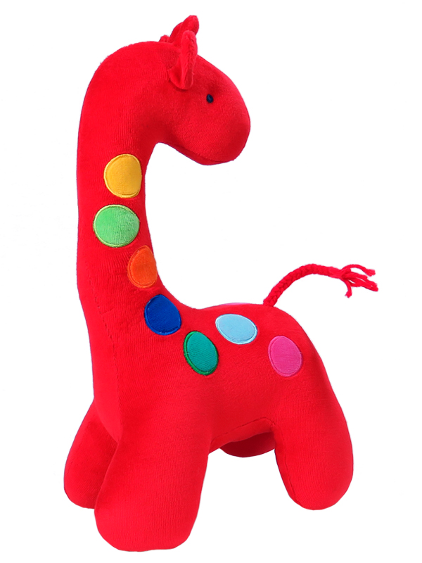 Dotty Giraffe Baby Toy Red by Kate Finn