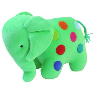 Green Dotty Elephant Baby Toy by Kate Finn