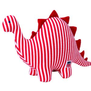 Red Stripe Dinosaur Baby Toy Designed by Kate Finn Australia