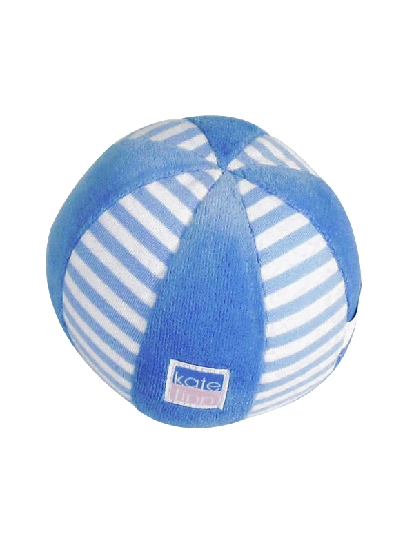 Blue Stripe Velvet Ball Baby Toy by Kate Finn Australia