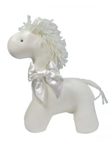 Ivory Velvet Horse Baby Toy by Kate Finn Australia