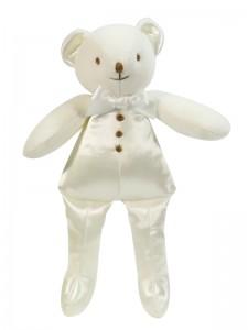 Ivory Satin Squeaker Bear Baby Toy