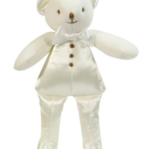 Ivory Satin Squeaker Bear Baby Toy
