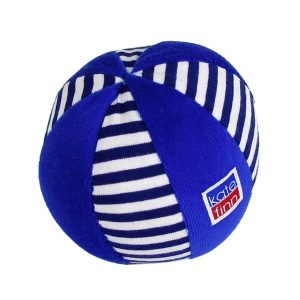 Navy Stripe Velvet Ball Baby Toy by Kate Finn Australia