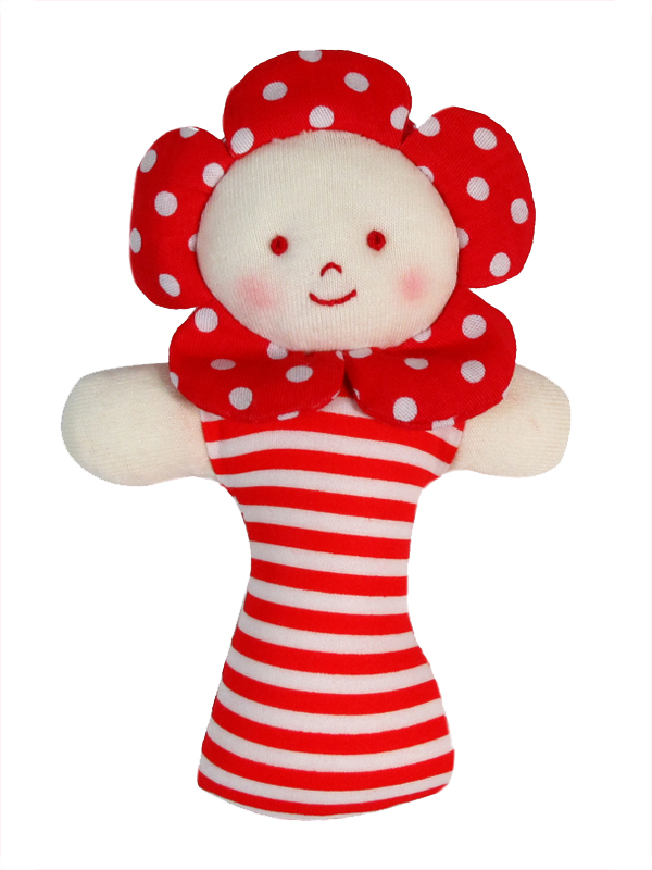Red Polka Dot Flower Baby Rattle by Kate Finn Australia
