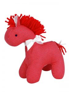 Red Micro Dot Mini Horse Baby Toy by Kate Finn Australia