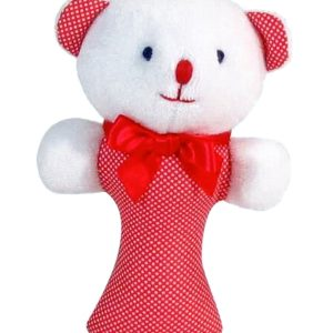 Red Micro Dot Bear Baby Rattle by Kate Finn Australia
