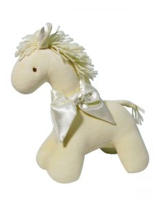Cream Velvet Horse Baby Toy by Kate Finn Australia