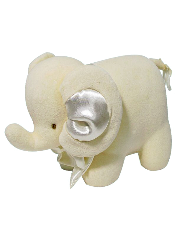 Cream Velvet Elephant Baby Toy by Kate Finn Australia