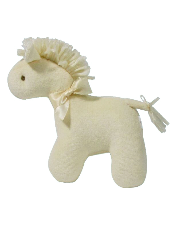 Cream Velvet Mini Horse Baby Toy by Kate Finn Australia