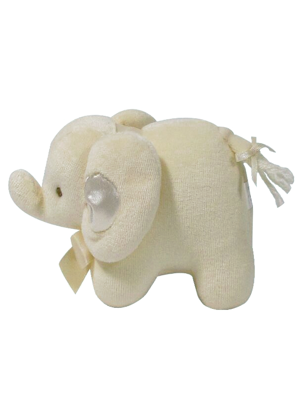Cream Velvet Mini Elephant Baby Toy by Kate Finn Australia