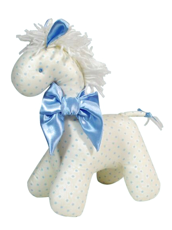 Cream Blue Dot Horse Baby Toy