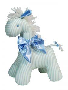 Cream Blue Stripe Horse Baby Toy by Kate Finn Australia