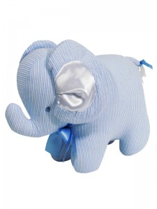 Fine Blue Stripe Elephant Baby Toy by Kate Finn