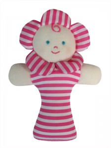 Lipstick Stripe Flower baby rattle by Kate Finn Australia