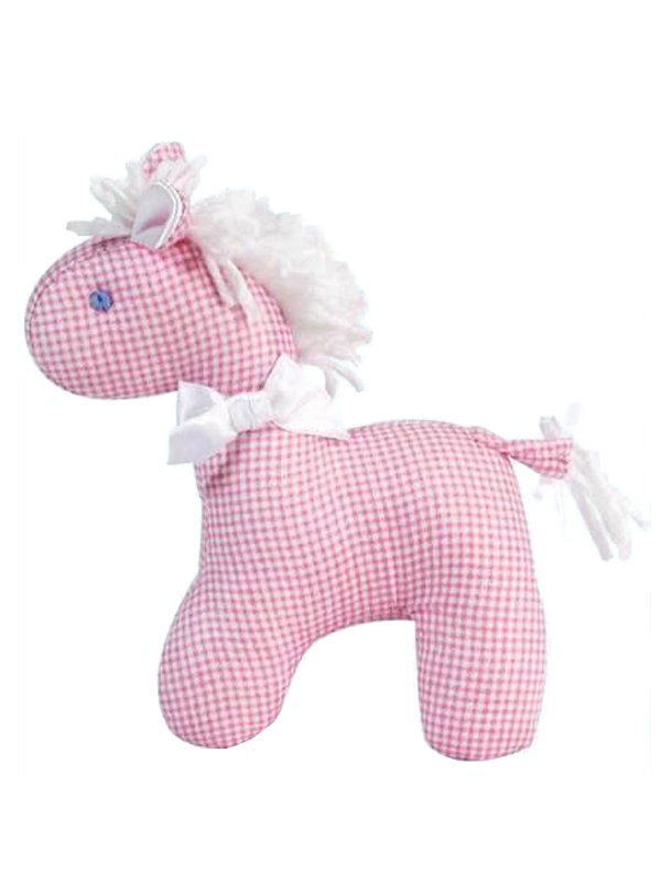Pink Micro Check Mini Horse Baby Toy