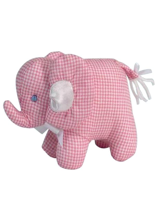 Pink Micro Check Mini Elephant Baby Toy by Kate Finn Australia