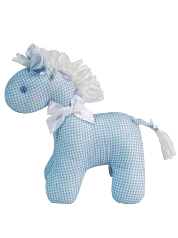Blue Micro Check Mini Horse Baby Toy by Kate Finn