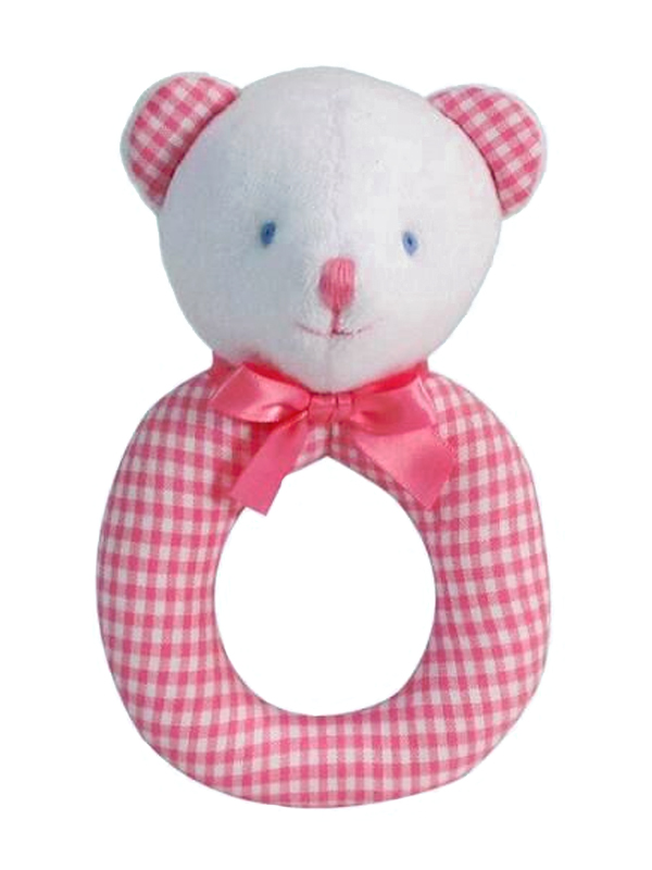 Pink Plaid Bear Baby Ring Rattle by Kate Finn Australia
