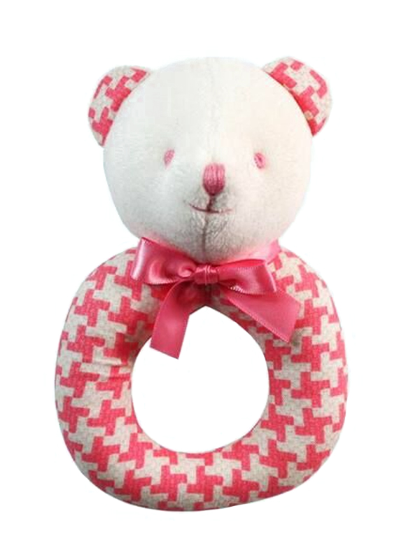 Pink Houndstooth Bear Baby Ring Rattle