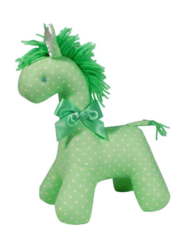 Green Cream Dot Horse Baby Toy by Kate Finn Australia