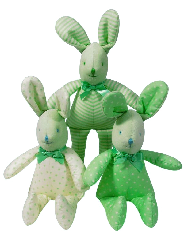 Green and Cream Bunny Squeaker Baby Toy