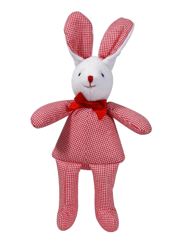 Red Micro Check Bunny Squeaker Baby Toy by Kate Finn Australia