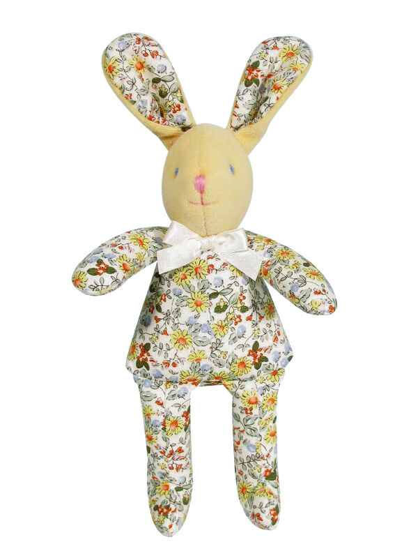 Yellow Daisy Bunny Squeaker Baby Toy by Kate Finn Australia