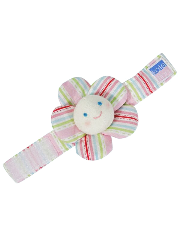 Lollipop Stripe Flower Wrist Rattle Baby Toy by Kate Finn Australia