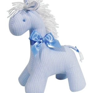 Fine Blue Stripe Horse Baby Toy by Kate Finn Australia